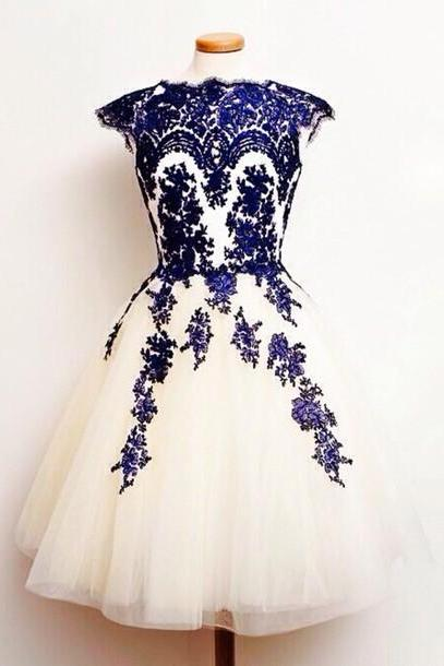 Charming Champagne Tulle Homecoming Dresses with Royal Blue Appliques Women Party Dresses